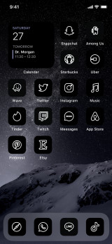 tumbnail image for image number 0 of 120 Black Aesthetic App Icon Covers for iOS 14 Home Screen